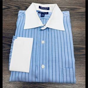 Paul Fredrick Blue Stripe French Cuff Shirt 16-34